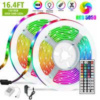 5M RGB 5050 Waterproof Strip light LED SMD 44 Key Remote 12V US Power Kit Full