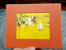 YELLOW HARBOR Print By Jean Kalisch 10 x 8 inches  Matted 6 x 4.75 in. Picture