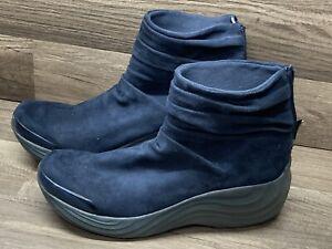 Bzees Womens Blue Zizzle Adjustable Back Zip Round Toe Ankle Boots Size 11 M