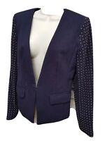 Michael Kors blazer jacket dark navy blue gold studded sleeves $195 Sz 6 NEW