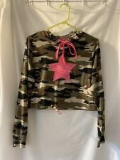 New listing Almost Famous Juniors L Green Camouflage Hoodie Tee Top Hot Pink sequin Star
