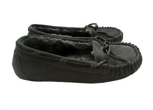 MINNETONKA MOCCASIN Women's Size 7 Gray Suede Leather Slippers !