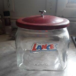 Lance Vintage Countertop Glass Jar With Metal Lid, Cracker Jar