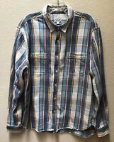 Lucky Brand Shirt Button Front Men's Size Large Plaid Blue Long Sleeve