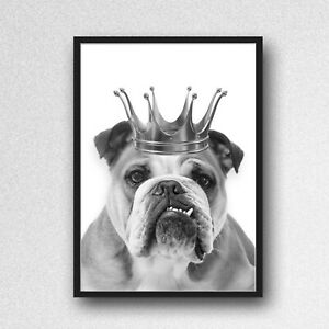 english bulldog crown PRINT PICTURE bowler hat unframed wall art a4 black white