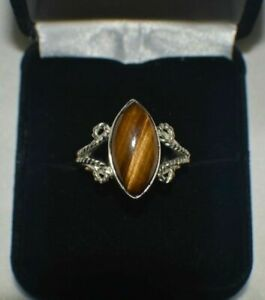 """6.50 ct. NATURAL GENUINE PIETERSITE """"TIGER EYE"""" STERLING SILVER COCKTAIL RING"""