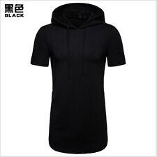 Longline Zipper T Shirt Mens Hooded Hipster Hip Hop Streetwear Short Sleeve
