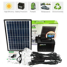 Portable Solar Panel Power Storage Generator LED Light USB Charger Home