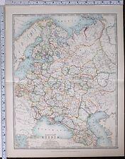 1904 LARGE MAP EUROPEAN RUSSIA CRIMEA TRANSCAUCASIA POLAND FINLAND