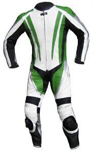 Lederkombi einteilig schwarz weiß Kawasaki Grün Einteiler Gr. 46 48 50