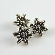 40 pcs Vintage Silver Zinc Alloy Flowers Charms Sewing Buttons Craft Findings