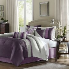 Luxury Madison Park 7-Piece Comforter Set Bed in a Bag King Size Bedding Purple