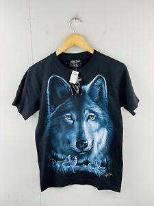 Rock Chang Men's NWT Vintage Short Sleeve Grey Wolf T Shirt Size S Black New