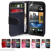 New Wallet Flip PU Leather Case Cover for HTC One + Screen Protector M7 M8