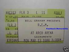 R.E.M. Concert Ticket Stub Mar 13 '89 Arco Arena Sacramento Peter Buck Very Rare