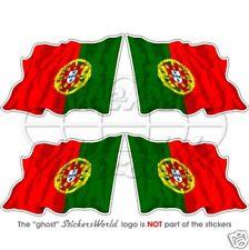 """PORTUGAL Portuguese Flying Flag  50mm(2"""") Vinyl Bumper-Helmet Stickers Decals x4"""