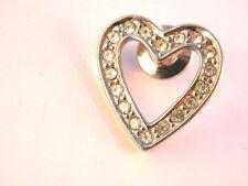 Heart lapel Pin. Avon Silver Tone  Metal and Rhinestones Valentine