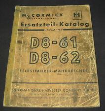Ersatzteilkatalog Mc Cormick International Harvester Mähdrescher Stand 01/1960!