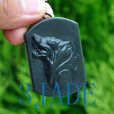 Natural Hetian Nephrite Jade Wolf- Head Amulet Pendant Talisman