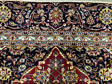 New listing 9x12 Red Hand Knotted Persian Rug Wool Antique navy blue gold oriental handmade