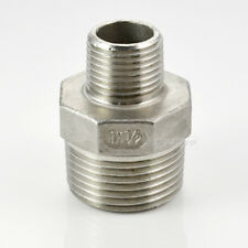 """1"""" x 1/2"""" Male Reducer SCREWED NIPPLE BSPT THREAD 304 STAINLESS STEEL FITTING"""