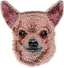 """2"""" x 2 1/4"""" Tan Chihuahua Head Portrait Dog Breed Embroidery Patch"""