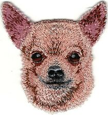 "2"" x 2 1/4"" Tan Chihuahua Head Portrait Dog Breed Embroidery Patch"