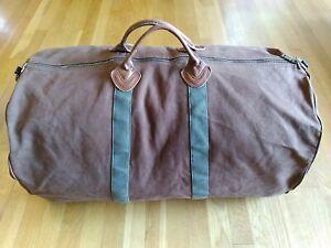Vintage LL BEAN Canvas Duffle Bag XL Duffel Brown/Green Talon Zipper