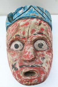 Antique Old HandCarved Painted Wooden Tribal Demon Face Mask Wall Hanging NH2133