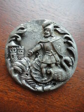 Rare Antique 18th Century Button Castle Knight Swan Silver Pot or Poured Metal