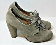 CHIE MIHARA SHOES OTE LACE UP HEELS GRAY NUBUCK BOOTIES OXFORD PUMP 37 NEW $365