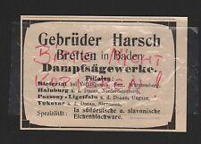 Bretten Baden, Pubblicità 1912, fratelli Harsch a vapore segherie