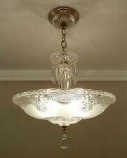 Vintage Crystal Glass Chandelier 1930 Art Deco Solid Brass Ceiling Light Fixture