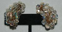 """Vintage Aurora Borealis Carnival Glass Clip On Cluster Clip On Earrings 1.5"""""""