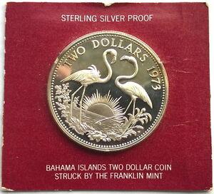 Bahamas 1973 Flamingos 2 Dollars Silver Coin,Proof