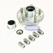 Galvanized Trailer Hub Kit 3500lb 5 Lug Pre Greased w/ Stainless Steel Lug Nuts