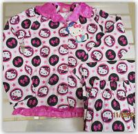HELLO KITTY PINK Flannel PAJAMA SET Button Down L/S Shirt & Pants GIRLS SM 6/6X