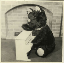 PHOTO ANCIENNE - VINTAGE SNAPSHOT - NATURE MORTE JOUET PELUCHE OURS PIANO - TOY