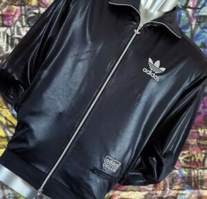 Adidas CHILE62 Black/Silver High shine wet look track jacket trefoil size Small