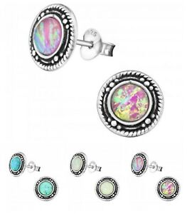 925 Sterling Silver Round Opal Stud Earrings 9mm Pink Green White Boxed