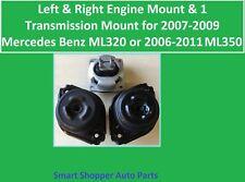 Lt & Rt Engine & 1 Transmissin Mount 2007-2009 Mercedes Benz ML320, 06 -11 ML350
