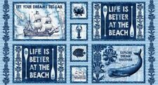 "23"" Fabric Panel - Studio E Indigo Coastal Whale Ship Beach Blocks Blue"