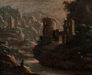 Landschaft mit Ruine und Wasserfall, Italien 17/18. Jh. - Öl/Leinwand   (# 9994)