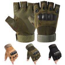 Mens Tactical Hard Knuckle Half Finger Gloves Army Military Airsoft Work Mitten