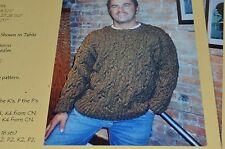 Black Purl Knitting Pattern:   Men Cabled Sweater 40-52 Worsted