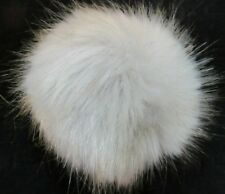 "Faux Fur Puff Ball Pin Broach For Hat Scarf Top Gray with Gold Tips 4"" Round NWT"