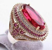 Turkish 18K Yellow Gold Filled Red Ruby White Topaz Rings Women Wedding Jewelry