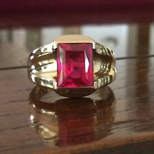 Mens Ruby Ring 10k Yellow Gold Size 10