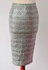 River Island Silver Stretch Midi Skirt Wiggle Sparkle Shiny Party Occasion UK 8