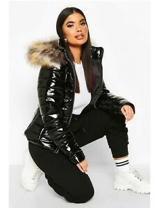 Women's PVC Puffer Jacket With Fur Hood Size 6-8 * New* See Other River Island &
